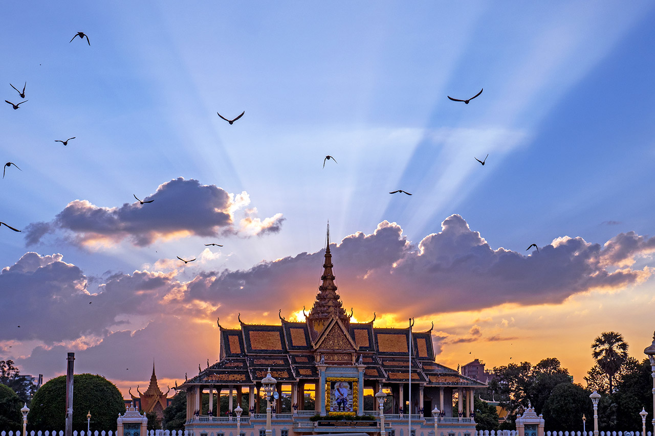 Sunset behind the Grand Performance Hall, Grand Palace, Phnom Penh, Cambodia, ©2017